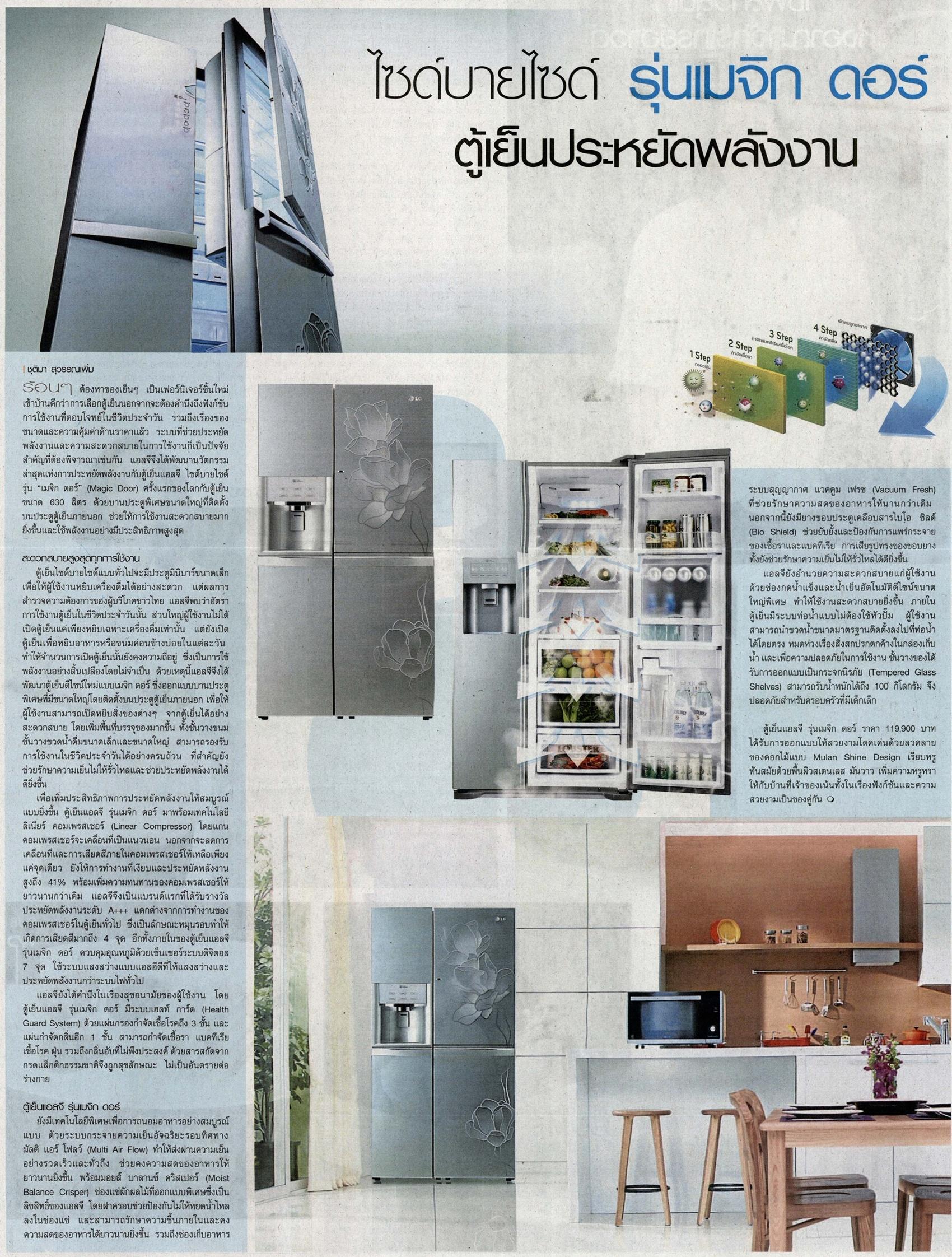Post Today อยากบอก ตู้เย็น-SIDE-BY-SIDE รุ่น Magic door ตู้เย็นประหยัดพลังงาน