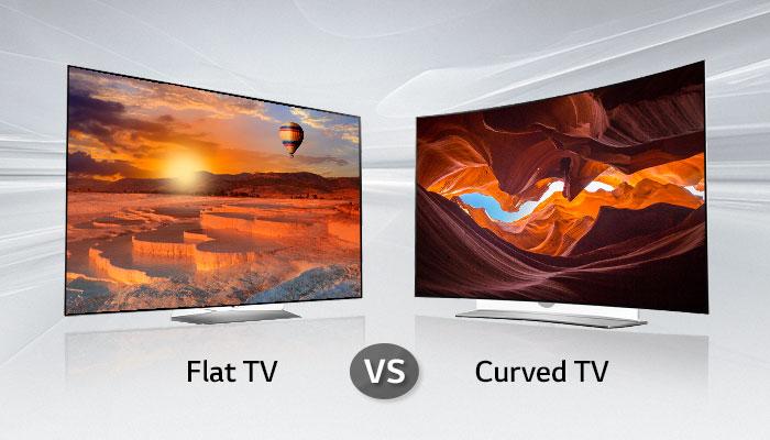 ทีวีจอตรงและทีวีจอโค้ง