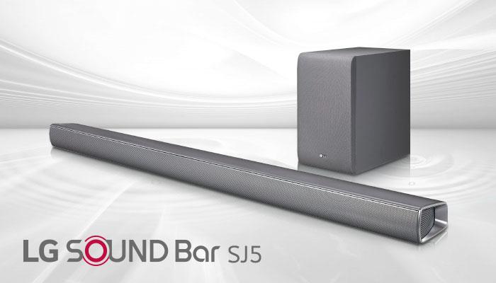 LG Sound Bar SJ5 พลังเสียงสุดกระหึ่มพร้อม Subwoofer ไร้สาย